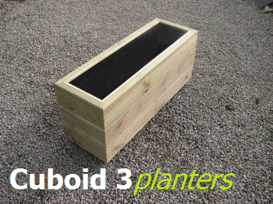 View Cuboid 400mm wide wooden planters.