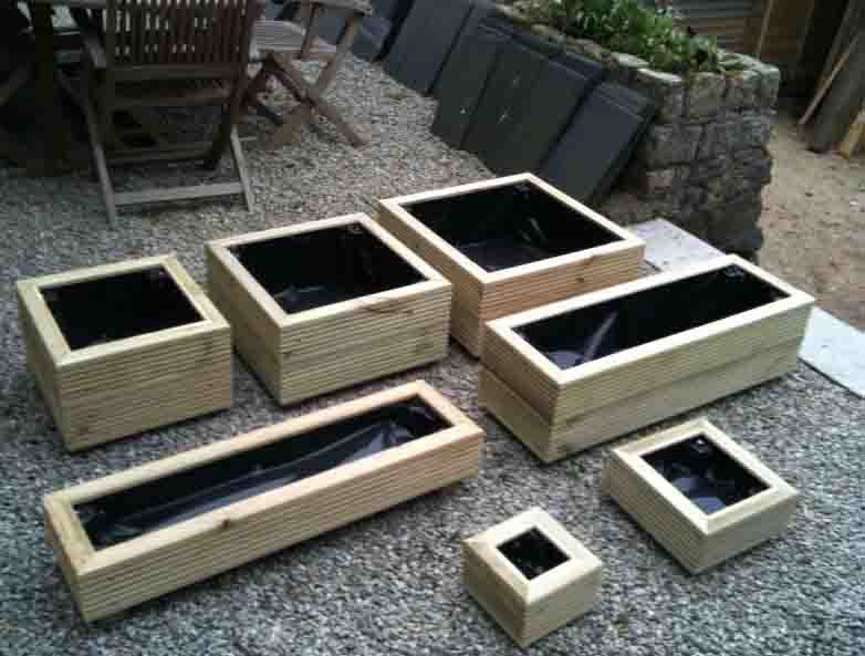 Wooden tanalised deluxe decking garden planter trough ebay for Tanalised decking boards